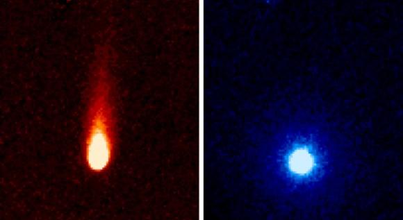 Estas imágenes del Telescopio Espacial Spitzer de la NASA del cometa C/2012 S1 (ISON) fueron tomadas el 13 de junio, cuando ISON fue de 310 millones de millas (unos 500 millones de kilómetros) del sol.  Crédito de la imagen: NASA / JPL-Caltech / JHUAPL / UCF