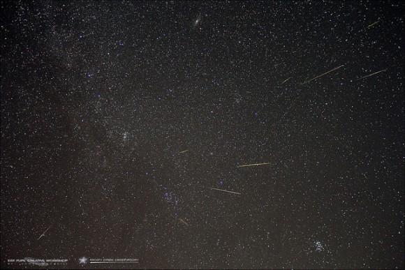 2013 perseidas Punto Radiante: Un disparo compuesto de meteoros Perseidas que emanan de la ducha punto radiante meteoro.  Este compuesto ofrece 9 meteoros Perseidas totales.  Créditos y derechos de autor Scott MacNeill.