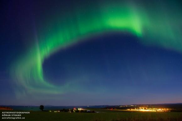 Aurora sobre el norte de Suecia el 23 de agosto de 2013.  Crédito y copyright: Göran Strand.