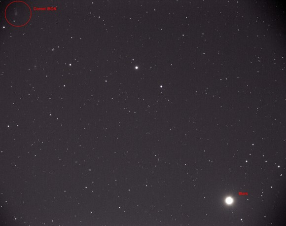 This image of Mars (lower right) and Comet ISON (upper left) was taken about 5:00 AM EDT in Westminster Maryland using a Nikon D5000 and a Stellarvue 80ED telescope. It's composed of 44 30-second exposures at ISO1600, stacked using DeepSkyStacker. Credit and copyright: Ari Koutsouradis.