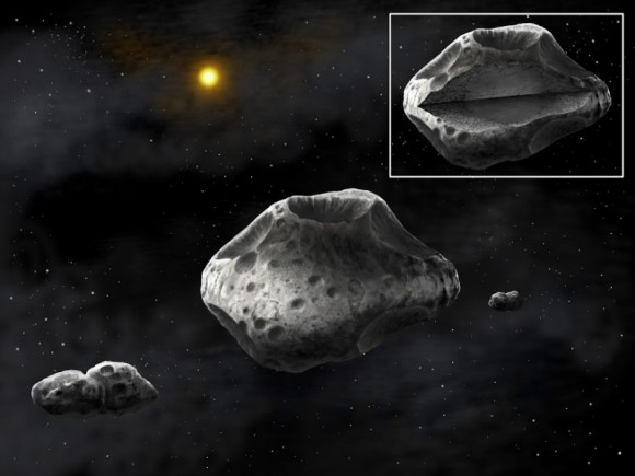 Artist's concept of the triple asteroid system: Sylvia (in the center) is surrounded by two moons, Romulus and Remus. Inset: The differentiated interior of Sylvia. Credit: Danielle Futselaar/SETI Institute