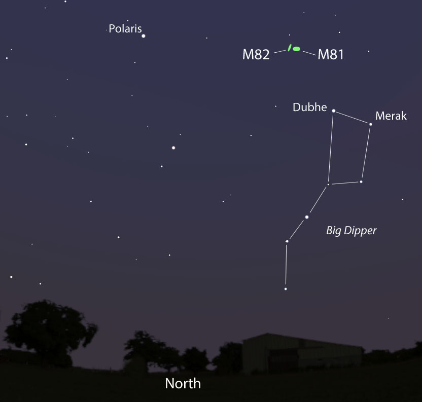 Sky map image showing M82