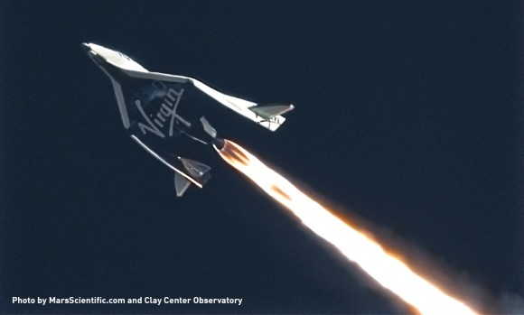 Feathered Flight during Virgin Galactic's SpaceShipTwo's third powered flight on January 10,  2014 over the Mojave desert. This image was taken by MARS Scientific as part of the Mobile Aerospace Reconnaissance System optical tracking system.