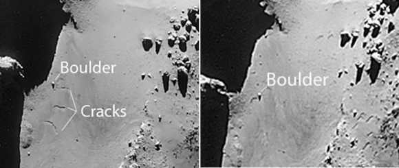 Side by side comparison of the two image from Dec. 9, 2014 (left) and Jan. 8, 2015. Credit: ESA/Rosetta/Navcam
