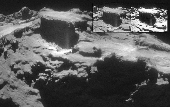 A new jet issues from a fissure in the rugged, dusty surface of Rosetta's comet. Credit: ESO/Rosetta/Navcam