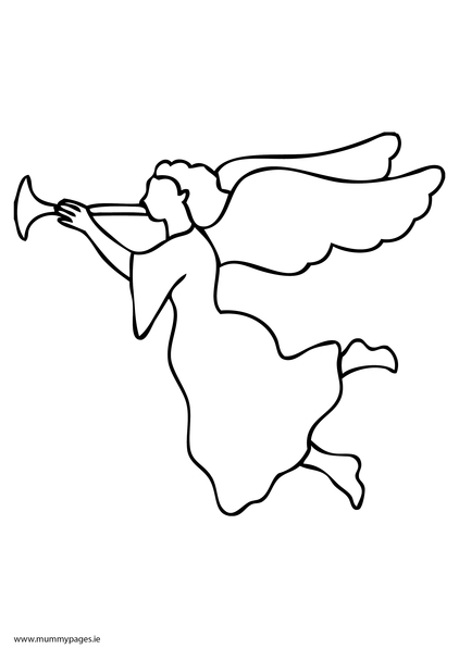 Christmas angel playing trumpet Colouring Page