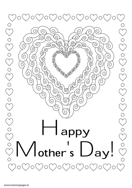 Happy Mother's Day with big heart Colouring Page