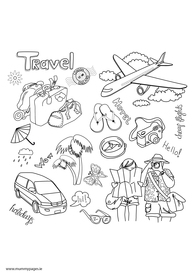 Transport and Travel Colouring Pages
