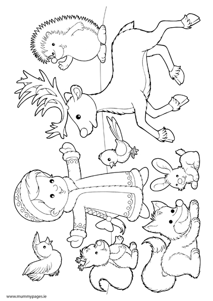 Winter scene - girl with animals in snow... | MummyPages ... | coloring sheets winter animals
