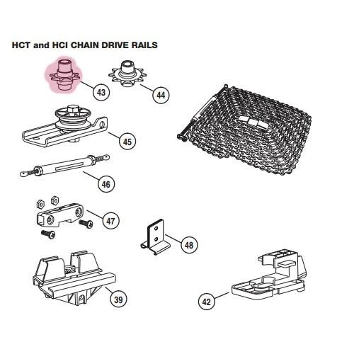 Linear Garage Door Opener Railing HCT Drive Sprocket