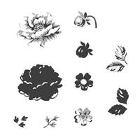 Stippled Blossoms Wood Stamp Set