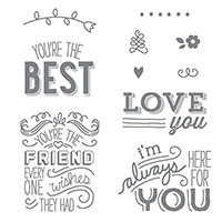 Friendly Wishes Wood-Mount Stamp Set