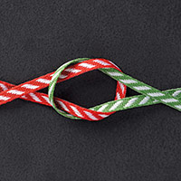 "Real Red & Garden Green 1/8"" (3.2 Mm) Striped Ribbon"