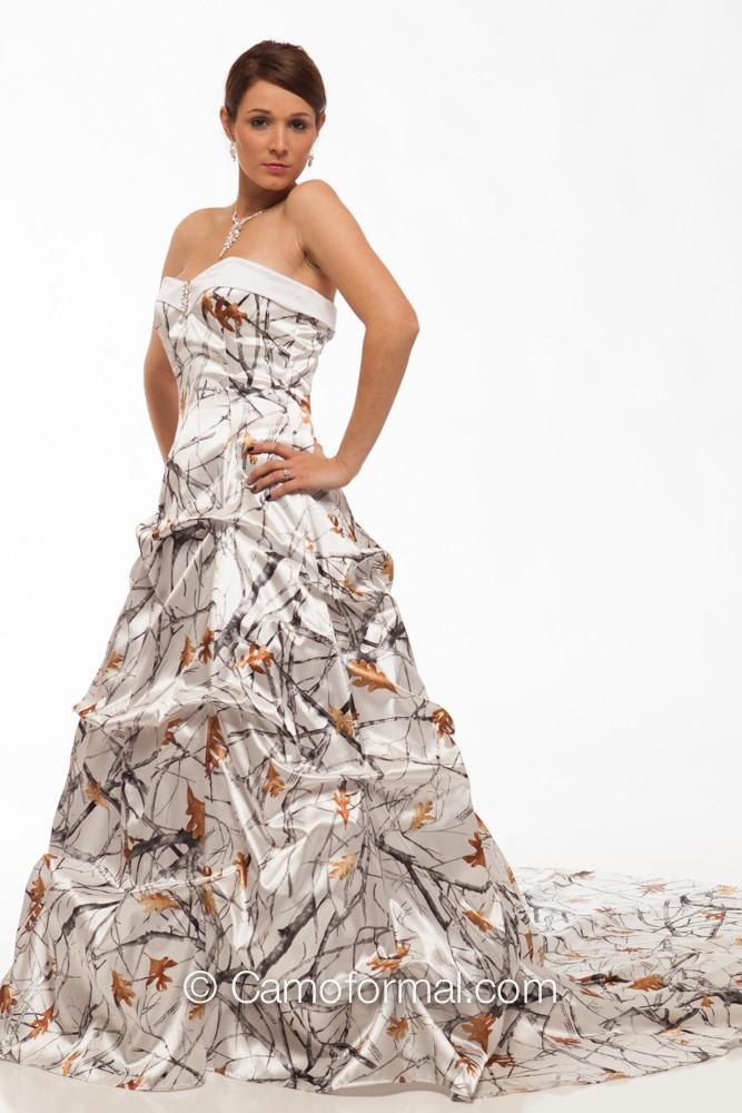 8896SW Louisa Sweetheart Pickup Wedding Gown Camouflage