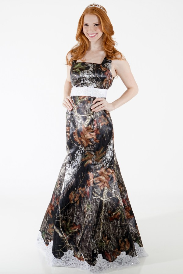 Camo Empire Mermaid Square Neck Dress With Lace And Sash