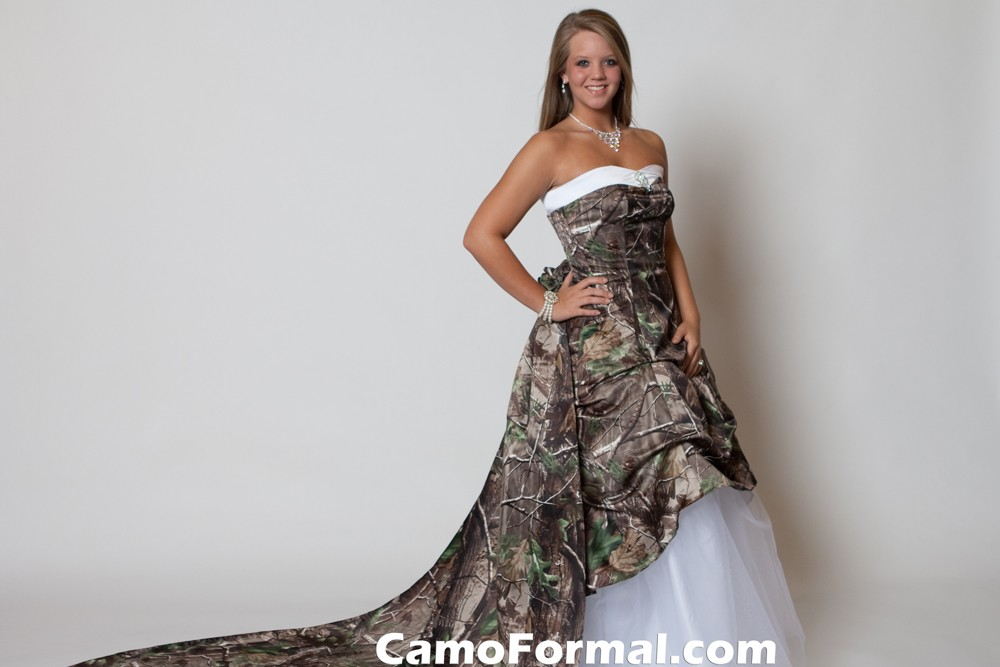 Pickup Wedding Dress With Detachable Train Camouflage Prom