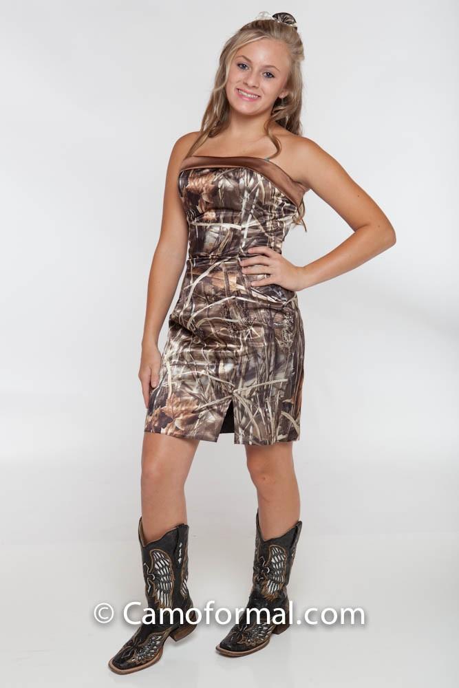 8074B Slim Short Dress With Band Camouflage Prom Wedding