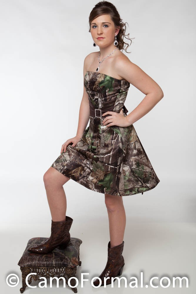 8599 Short A Line Pleated Waist Accent Camouflage Prom