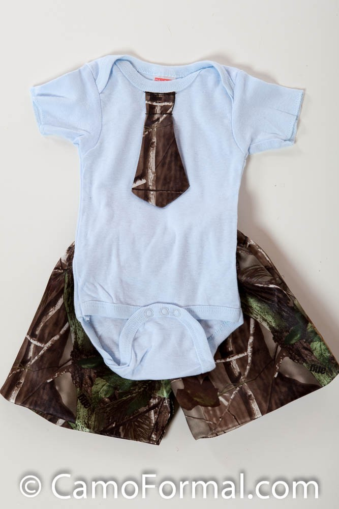 Baby Onesie Tie and Shorts Camouflage Prom Wedding Homecoming Formals