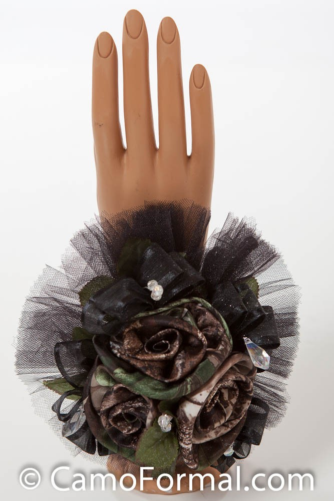 Camo Corsage 2 Roses WristCamo Camouflage Prom Wedding Homecoming Formals