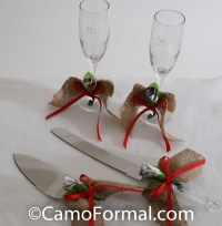 Camo and Burlap Cake and Knife Server Set Camouflage Prom ...