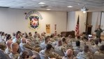 """The 167th Airlift Wing conducted COVID-19 vaccine information sessions in the wing auditorium during September's unit training assembly, Sept. 11, 2021. The 167th Medical Group created and presented the session, titled """"COVID-19 Vaccine: Informed Confidence""""."""