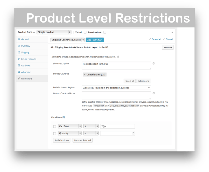 WooCommerce Conditional Shipping and Payments- Product-Based Restrictions