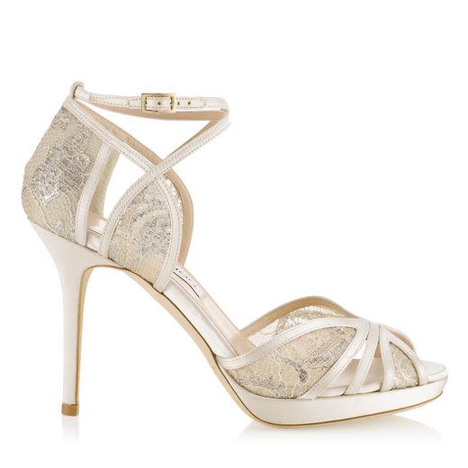 JIMMY CHOO Talia 100 Ivory Satin And White Lace Sandals