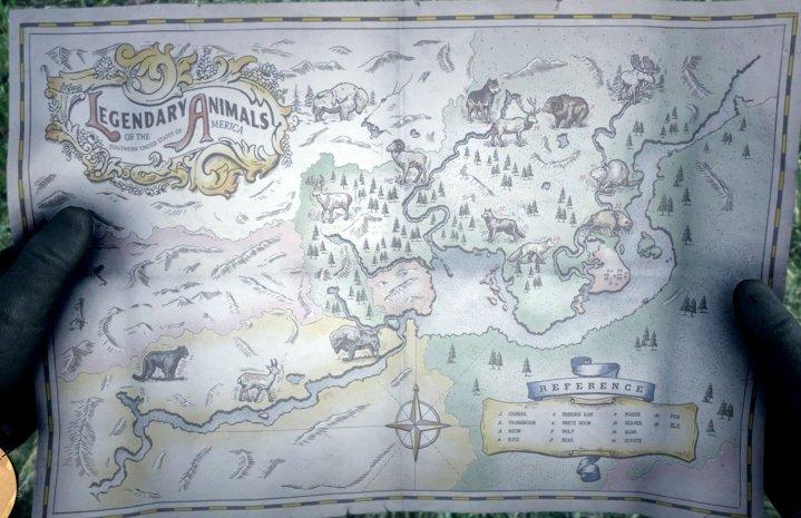 El mapa de animales legendarios en Red Dead Redemption 2