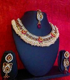 Buy Rani pink stones & meenakari chandni pearls polki bridal necklace set z69r necklace-set online