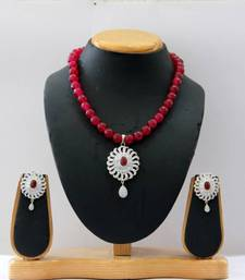Buy CZ STONE STUDDED PENDANT SET WITH RED ONYX PEARLS  necklace-set online