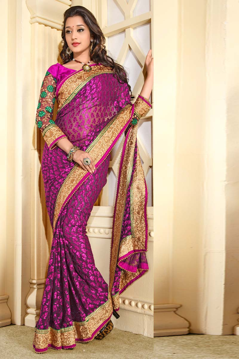 Dazzling Diva Pink Color Party Wear Saree Online