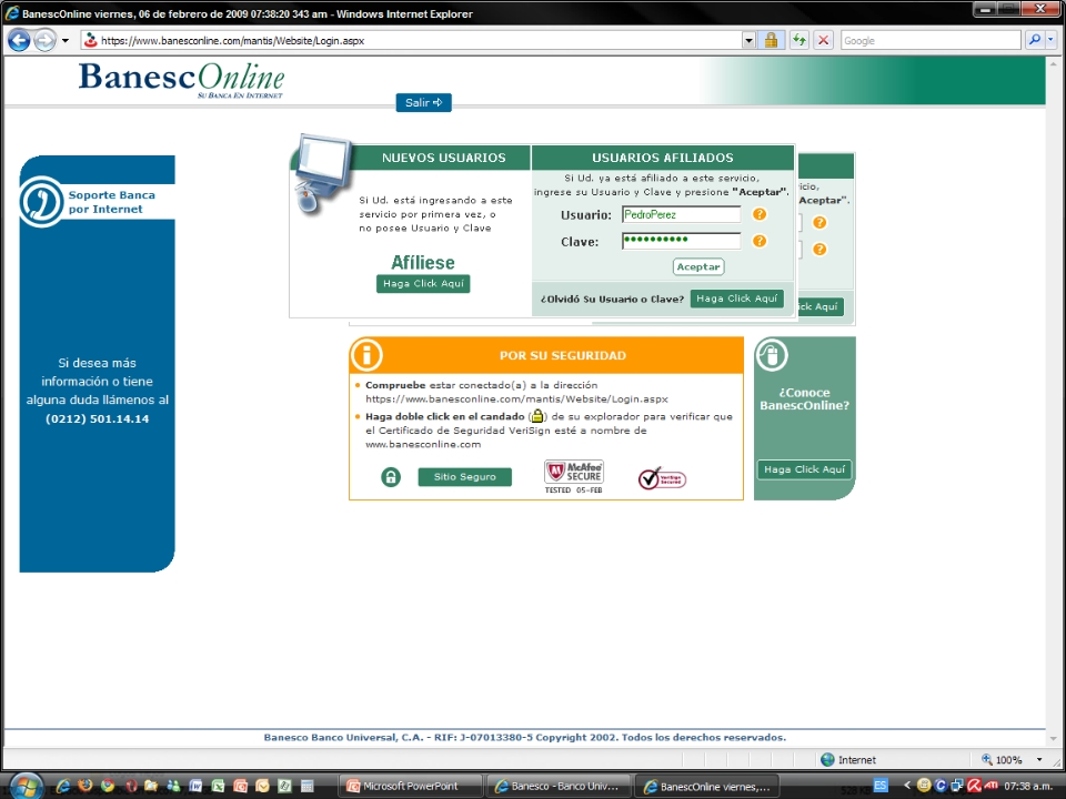 Alerta - Phishing (robo de claves) en Banesco (5/6)