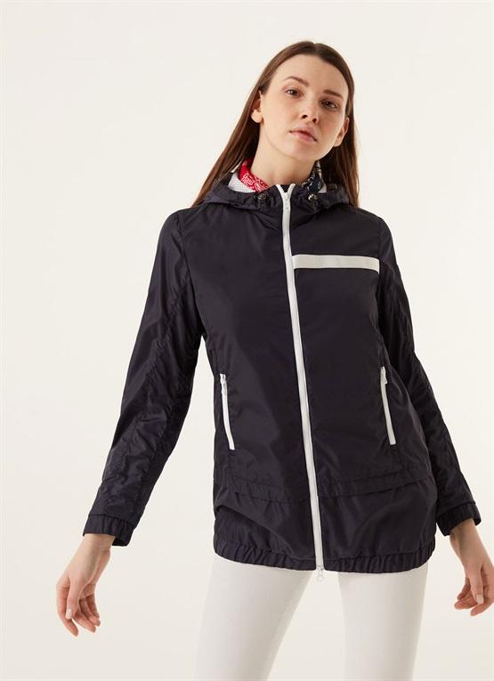 giacca con cappuccio in taffetà