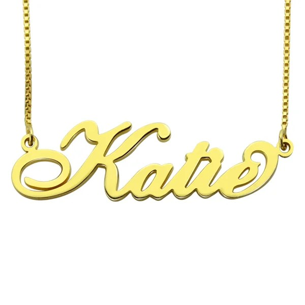 Personalized Carrie Nameplate Necklace In Gold
