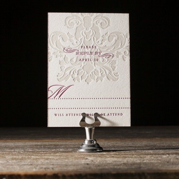 Augustine Damask letterpress wedding invitations