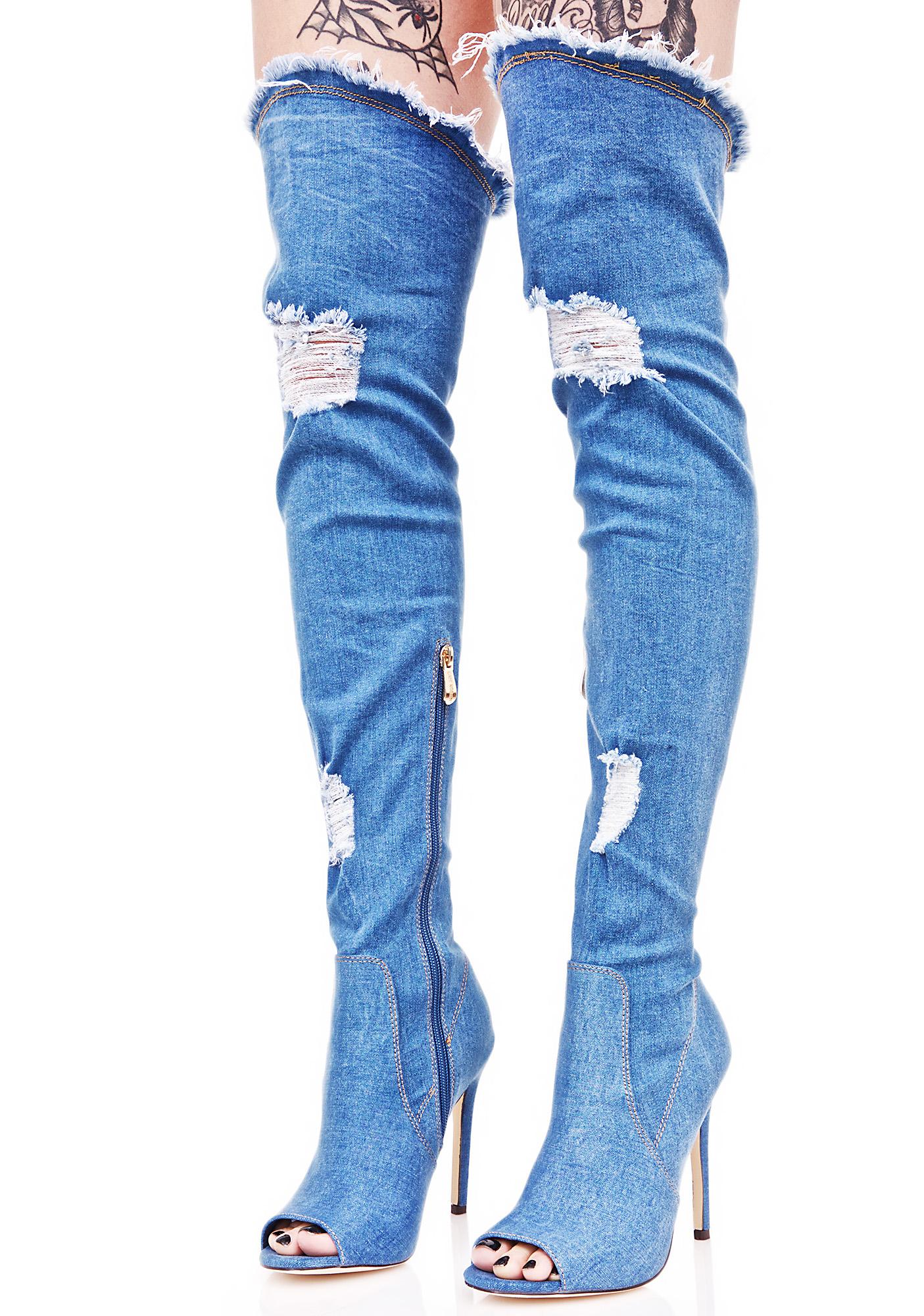 Denim Distressed Thigh Boots