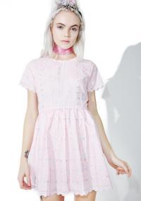 Pink Eyelet Babydoll Dress
