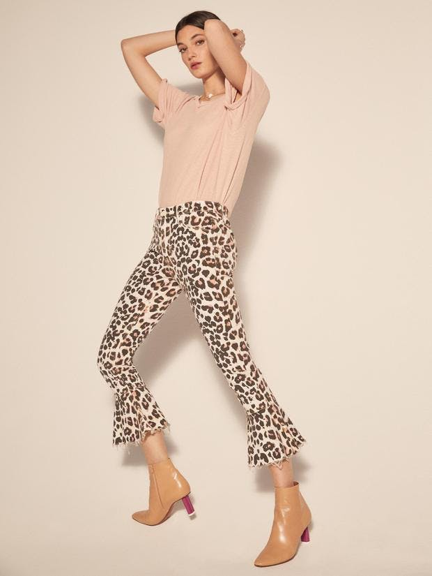 Leopard jeans, leopard print, jeans. cropped jeans, jeans, denim, printed denim