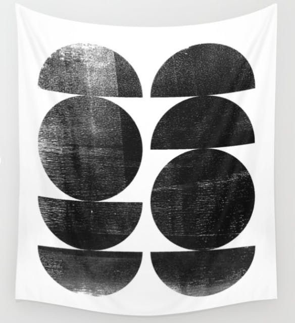 Mid Century Modern Circles Abstract Wall Tapestry