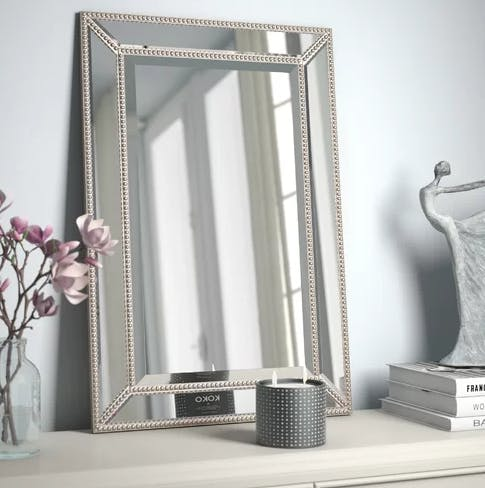 Beveled Beaded Accent Mirror