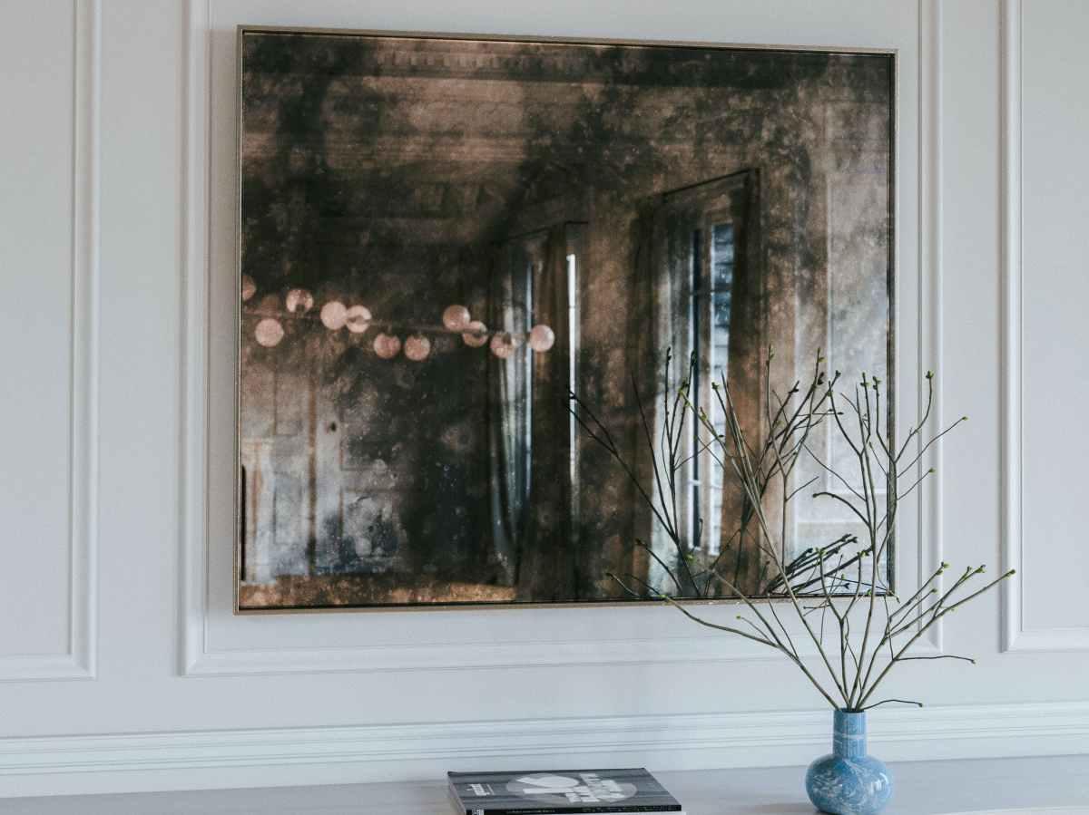 large distressed mirror, antiqued mirror
