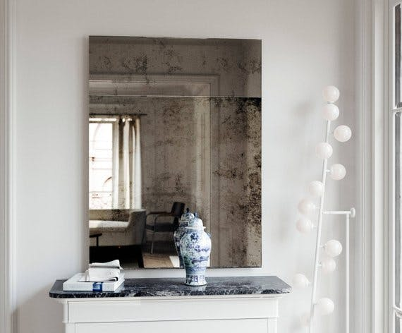 Trumeau Style Antiqued Wall Mirror