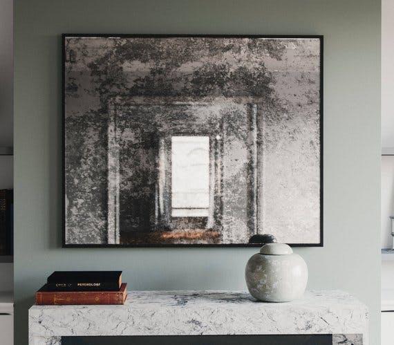 framed mirror, antiqued mirror