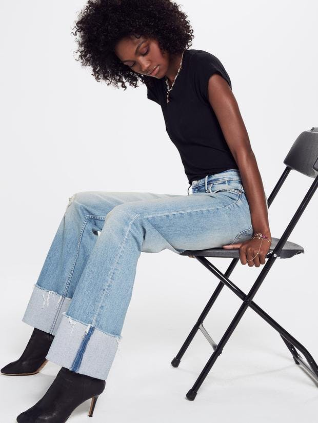 mother denim, mother jeans, jeans, cuffed jeans, long jeans, frayed denim