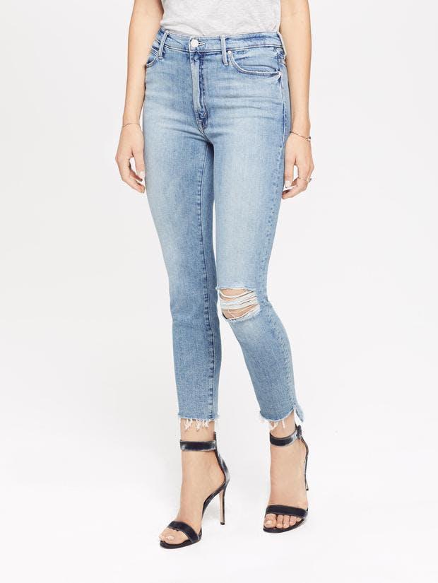 mother jeans, mother denim, high rise jeans, high waisted jeans, frayed denim, step fray jeans, distressed denim