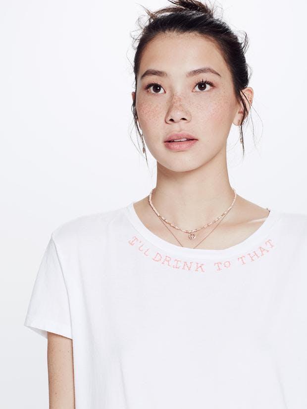 mother denim, mother jeans, shirt, t shirt, embroidered t shirt, white t shirt