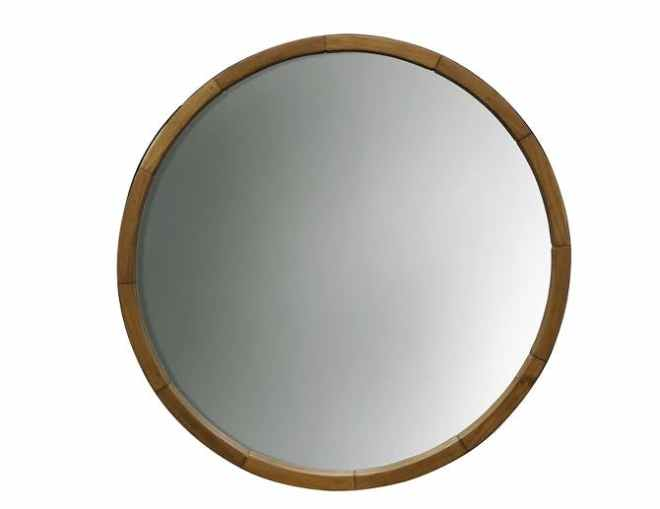 Round Mirror Wood Barrel Frame 24