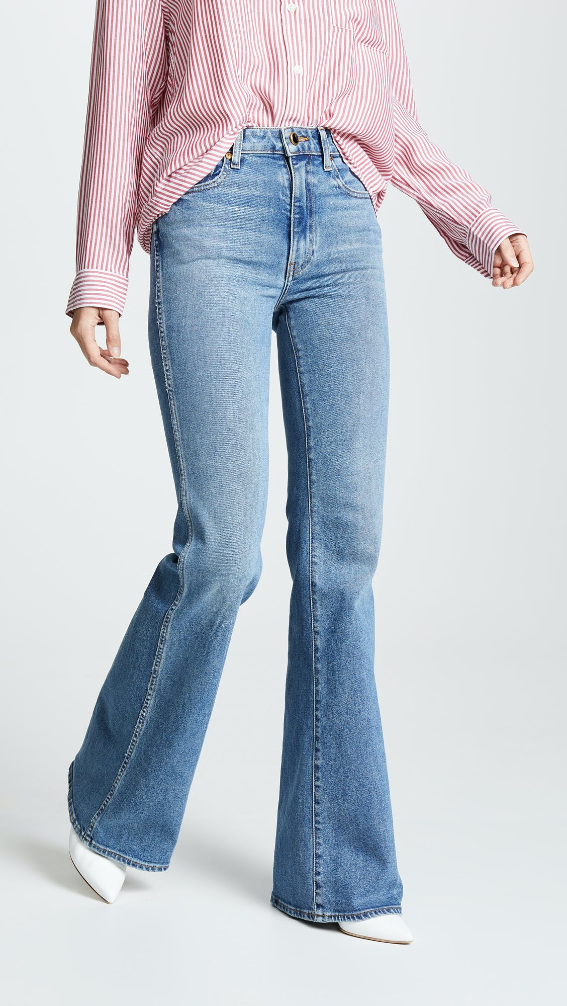 khaite jeans, flared jeans, wide leg jeans, high rise jeans, high waisted flares