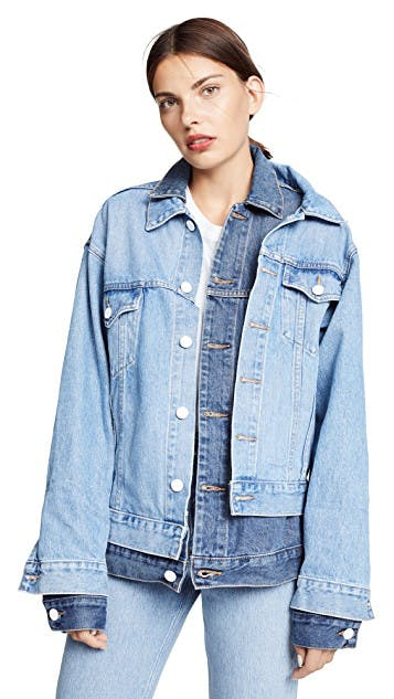 monse, denim jacket, jean jacket, layered denim jacket, double collar denim jacket, two tone denim, oversized denim, lightwash denim